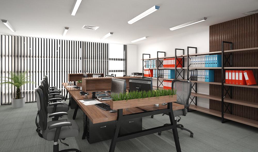 Không gian văn phòng với những mảng xanh đẹp mắt - Ảnh: Kiến Nhật
